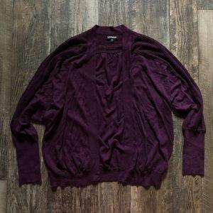 Deep Purple Knit Detail Dolman Sleeve Cardigan